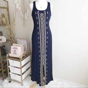 Anthropologie Solitaire Embroidered Maxi Sundress